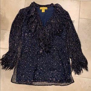 Catherine Malandrino navy print blouse
